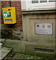 SY1287 : Yellow box on a Market Place wall, Sidmouth by Jaggery