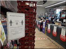 SZ0894 : Ensbury Park: coronavirus measures in the Co-Op by Chris Downer
