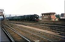 TQ2775 : Bournemouth line train passing Clapham Junction B signal box, 1966 by Alan Murray-Rust
