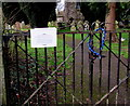 SO2714 : Locked gates at the entrance to St Peter's churchyard, Llanwenarth Citra, Monmouthshire by Jaggery
