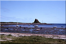 NU1341 : Lindisfarne Castle seen across The Ouse by Colin Park