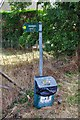 SP3508 : Public footpath sign and dog waste bin, Witney Road, Ducklington, Oxon by P L Chadwick