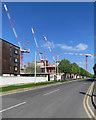 TL4258 : Cavendish III cranes and J J Thomson Avenue by John Sutton
