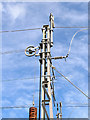 SJ9528 : Electrification gantry (detail) near Salt, Staffordshire by Roger  Kidd