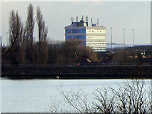 TQ2187 : Office block by the Welsh Harp Reservoir by David Howard