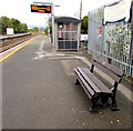 SO4383 : Memorial bench on Craven Arms station platform 2 by Jaggery