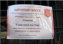 TG2208 : Salvation Army Citadel in St Giles Street - closure notice by Evelyn Simak