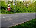 ST2993 : Warning sign alongside the A4051 Cwmbran Drive, Llantarnam, Cwmbran by Jaggery