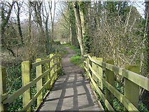 TQ0866 : Footbridge on Thames Path at Halliford by Sean Davis