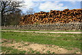 NZ1603 : Pile of logs beside track to Low Coalsgarth Farm by Roger Templeman