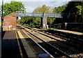 SO5058 : Footbridge beyond the northern end of Leominster station by Jaggery