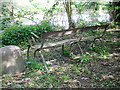 SP3365 : Wrought-iron seat, St Mary's Allotments, Leamington by Robin Stott