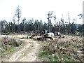 NY9449 : Bulldozer in High Beldon Plantation by Oliver Dixon
