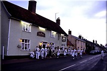 TM3569 : Morris dancing outside The Swan Public House, Peasenhall by Colin Park