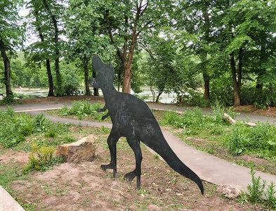 SD8511 : Dinosaur in the Bog Garden at Queen's Park by David Dixon