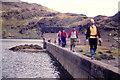 SH6644 : On the dam wall of Llyn Stwlan by Richard Law