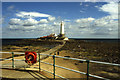 NZ3575 : Causeway leading to St Mary's Island and lighthouse by Colin Park