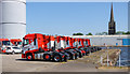 SE7423 : Parked lorry tractor units at Stanhope Dock by Trevor Littlewood