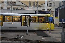 SJ8499 : Metrolink tram, Victoria Station by N Chadwick