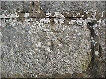 NJ6463 : Ordnance Survey Benchmark on gatepost, Boyndie by Adrian Taylor