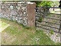 NY2162 : Gatepost with Ordnance Survey benchmark, Pottery House by Adrian Taylor