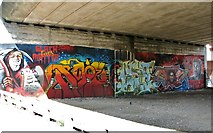 TG2309 : New graffiti under the Magdalen Street flyover by Evelyn Simak