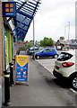 ST3090 : Reduced range noticeboard outside Greggs, Malpas, Newport by Jaggery
