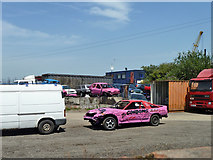 TQ6674 : Banger in industrial yard, Milton, Gravesend by Robin Webster
