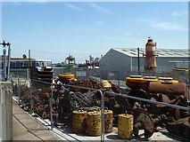 TQ6674 : Old port equipment in PLA yard, Denton Wharf by Robin Webster