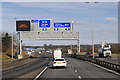 NT1273 : Sign Gantry over the M9 at Junction 1A by David Dixon