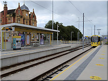SJ7996 : Trafford Park, Village Tram Stop by David Dixon
