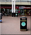 ST2995 : Turquoise notice on a Cwmbran bus station litter bin by Jaggery