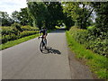SO9862 : Cyclist on Flying Horse Lane, Bradley Green, Worcestershire by Jeff Gogarty