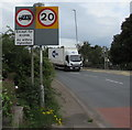 ST3490 : Signs on the approach to Caerleon Bridge by Jaggery