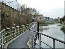 TQ3882 : Limehouse Cut - floating towpath by Robin Webster