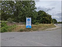 TQ5571 : Darenth water treatment works entrance and Hawley Road by Paul Williams