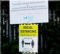 SO8005 : Social Distancing notice in High Street Car Park, Stonehouse by Jaggery