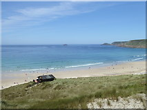 SW3526 : The lifeguard hut above Sennen beach, seen from the coast path by Rod Allday