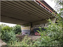 TQ5571 : M25 bridge over Darent Valley Path and River Darent by Paul Williams