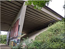 TQ5571 : M25 bridge over River Darent/Darent Valley Path by Paul Williams