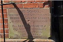 TQ5839 : Foundation stone, The School House by N Chadwick