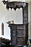 TM3464 : Rendham, St. Michael's Church: Fine c17th pulpit inscribed '1632 W.P.' and tester above by Michael Garlick