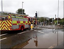 J3731 : NIFRS unit at the junction of the flooded Bryansford Avenue and Shimna Road by Eric Jones