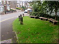SO2508 : Wooden benches and wooden posts, Cwmavon Road, Blaenavon by Jaggery