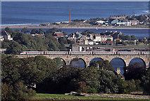 NT9953 : A train on the Royal Border Bridge at Berwick-upon-Tweed by Walter Baxter