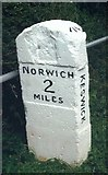 TG2104 : Old Milestone (south face) by the B1113, south of Harford Bridge by CW Haines