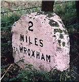 TG2815 : Old Milestone (south face) by the A1151, Wroxham Road, south west of Wroxham by CW Haines