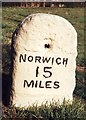 TG0002 : Old Milestone (south face) by the B1108, Watton Road, Hingham Parish by CW Haines