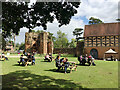 SP2772 : Widely-spaced picnic tables, Kenilworth Castle by Robin Stott