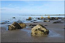 NX1189 : Beach Boulders and Big Isle by Anne Burgess